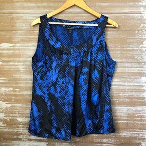 St. John Silk Snakeskin Black Cobalt Blouse Sz L